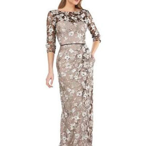 JS Collection Gown Floral Mesh Overlay